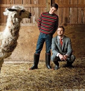 Brent Ridge, Josh Kilmer-Purcell  - The Fabulous Beekman Boys - and Polka Spot the llama.