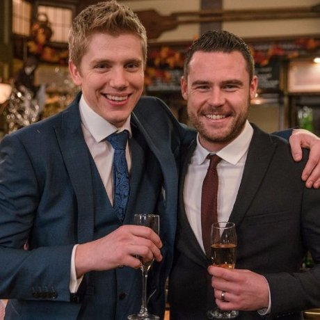 Robron in happier times. Robert (Ryan Hawley) and Aaron (Danny Miller) at their wedding. |Image: ITV